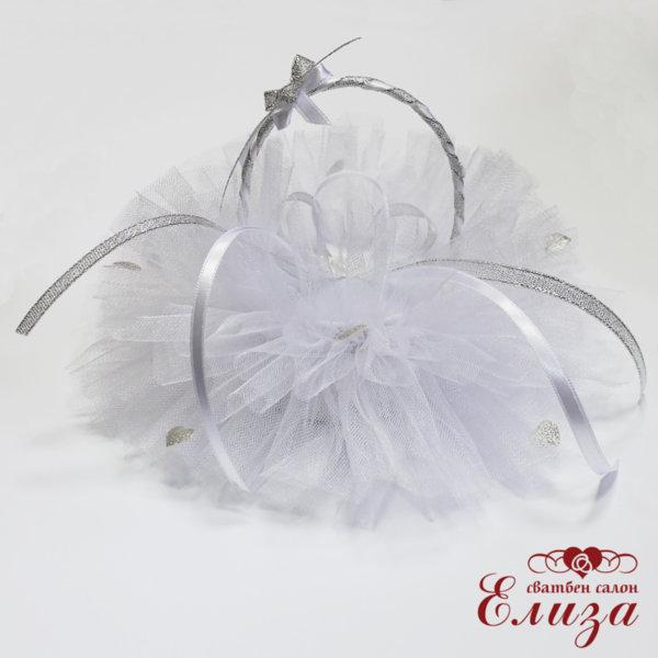 Сватбена кошничка за халки в бяло и сребърно